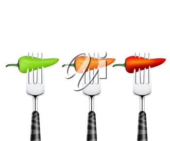 Royalty Free Photo of Three Chili Peppers Pierced with Forks
