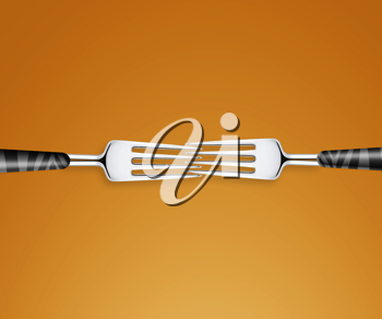 Royalty Free Photo of Two Forks Fitting Together on an Orange Background
