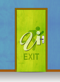 Royalty Free Photo of a Green Exit Door With a Silhouette on a Blue Wall
