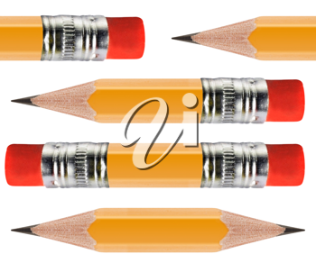 Royalty Free Photo of a Group of Short Sharpened Pencils With Erasers