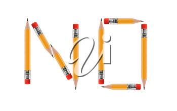 short Pencils isolated on white background arranged to spell No.