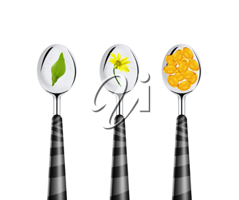 Royalty Free Photo of Spoons with Pills and Herbs