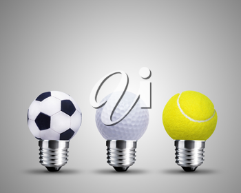 light bulb made from sport balls, light bulb conceptual Image.