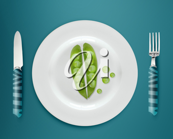 green peas on white plate with knife and fork on blue background.