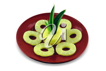 ripe pineapple slices isolated on white background  with a clipping path