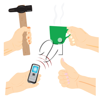 Royalty Free Clipart Image of Hands Holding Various Items