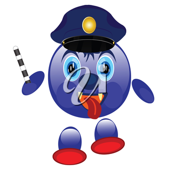 Nice smail police on white background is insulated