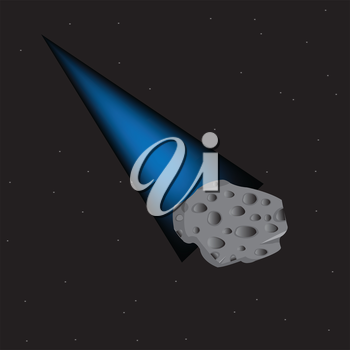 Vector illustration of the comet in outer spaces