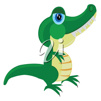 Drawing of the crocodile on white background is insulated