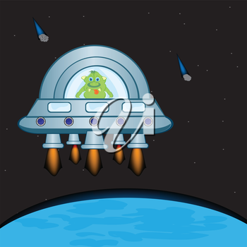 Extraterrestrial spaceship in cosmos beside planets.Vector illustration