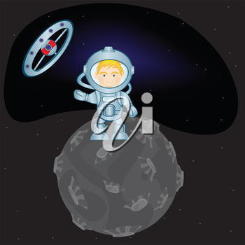 Spaceman in space suit on distant planet