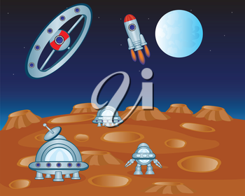 Vector illustration of the planet and flying, machines