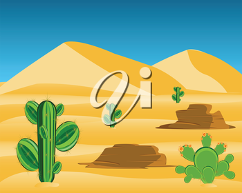 Vector illustration to wild desert with cactus
