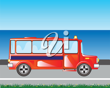 The Red bus goes beside seeshore.Vector illustration