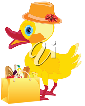 Duckling in fashionable hat with product in bag on white background