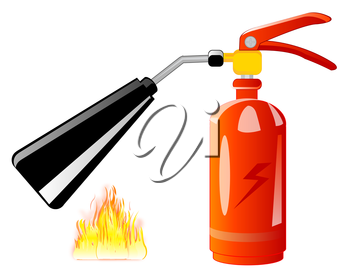 Vector illustration of the red fire-extinguisher on white background