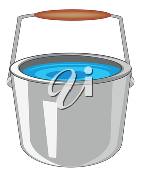 Iron pail with water on white background is insulated