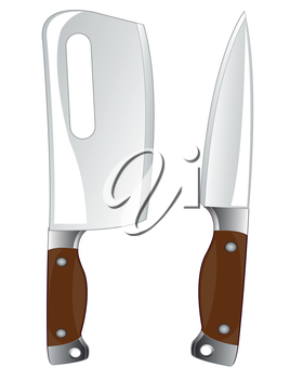 Kitchen tools knife and cutlass on white background is insulated