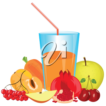 Glass with cocktail from fruit and vegetables on white background