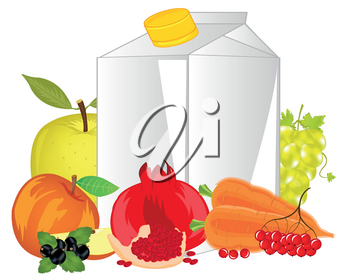 Carton with juice and fruits with vegetable and berry on white background