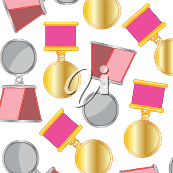 Awards order and medal decorative pattern on white background
