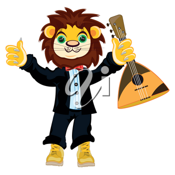 Cartoon animal lion in suit and with balalaika
