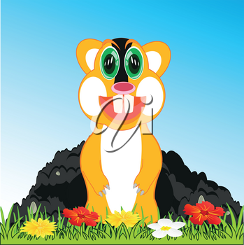 Vector illustration small animal gopher peering out burrow