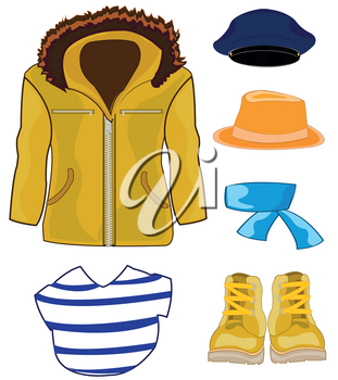 Vector illustration of the male jacket and other cloths and footwear
