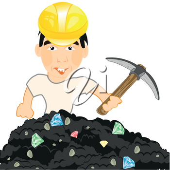 Man in helmet and with pickax gains jewels in soil