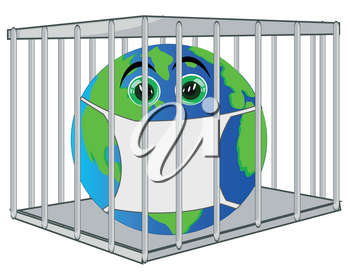 Cartoon of the planet land on quarantine in hutch and defensive mask from contamination