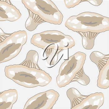 Pattern from edible white mushroom on white background
