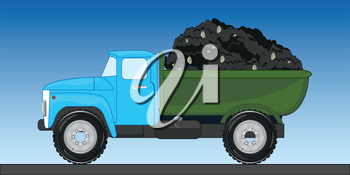 Cargo car zil carries heap of ground in basket