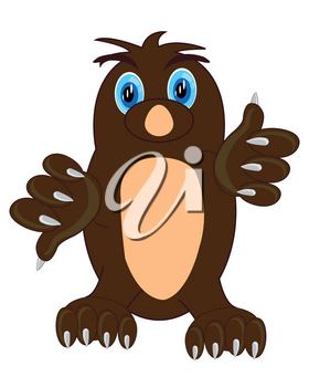 Vector illustration animal mole on white background is insulated