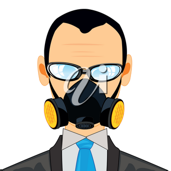 Person young men in suit and respirator