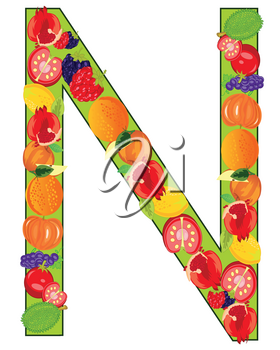 Vector illustration english letters N from vegetables and fruits