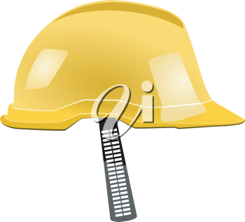 Royalty Free Clipart Image of a Yellow Helmet With a Ladder