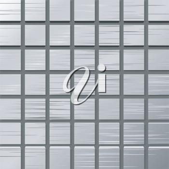 Royalty Free Clipart Image of a Metal Plate With Squares
