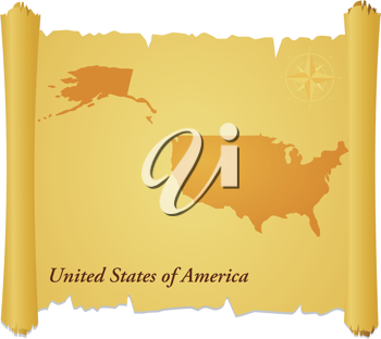 Royalty Free Clipart Image of a Parchment With a Silhouette of the United States of America