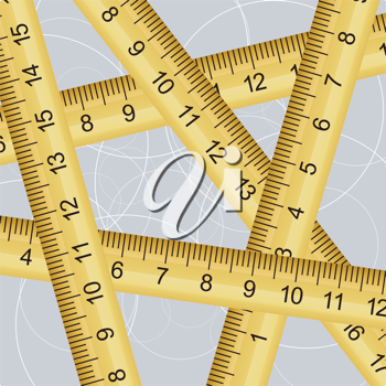 Royalty Free Clipart Image of a Measuring Tapes Criss Crossing Each Other on a Blue Spiral Background