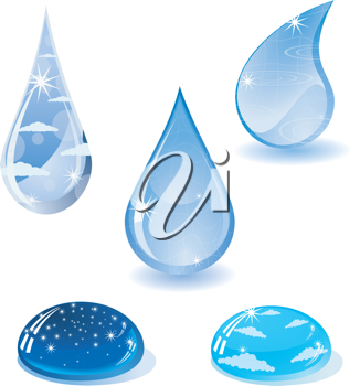 Royalty Free Clipart Image of a Variety of Water Drops