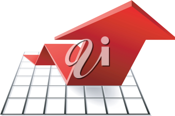 Royalty Free Clipart Image of a Red Arrow on a Chart Symbolizing Growth in 3d