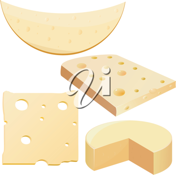 Royalty Free Clipart Image of a Variety of Sliced Cheeses