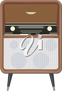 Royalty Free Clipart Image of a Retro Am Radio With Legs