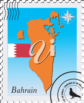 Royalty Free Clipart Image of a Stamp With a Photo of Bahrain