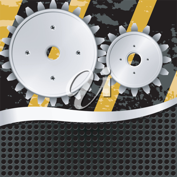 Royalty Free Clipart Image of An Abstract Metal Background With Gears
