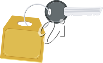 Illustration of the key with a label on the ring