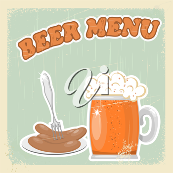 Vintage postcard of the beer menu. eps10