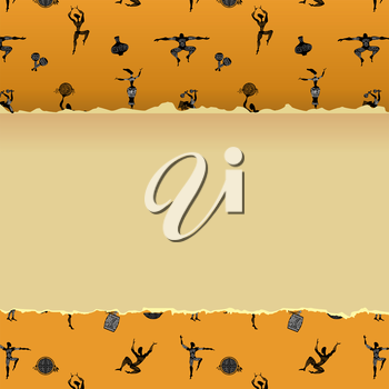 Abstract background with figures of primitive people