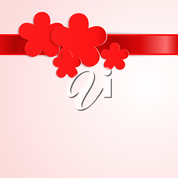 Pink background with red paper flowers and red ribbon