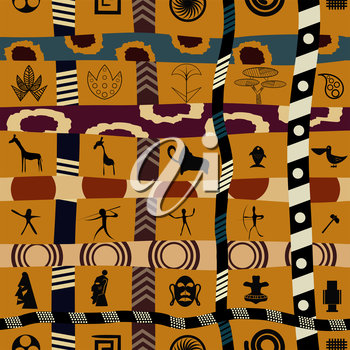 Tribal seamless pattern with graphic flowers and animals